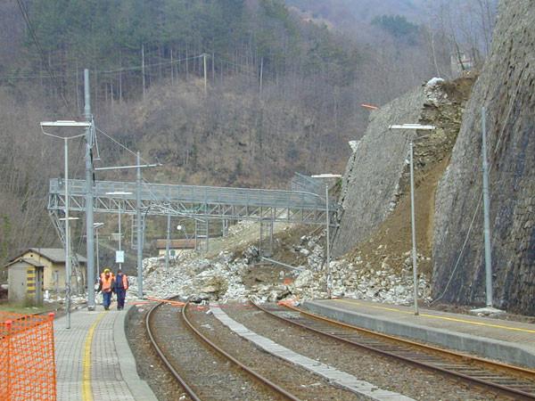 Consolidamento movimento franoso su linea ferroviaria